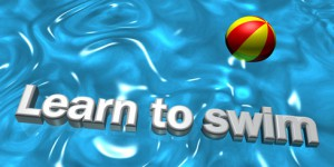 Learn to swim 3D sign